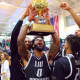 Joel Hernandez of Teaneck celebrates after shocking Wagner last week to win the NEC title. LIU lost to Radford Tuesday night.