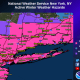 Winter Storm Warnings are in effect from 6 a.m. Wednesday to 6 a.m. Thursday for areas shown in pink.