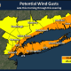 Winds will gust 35 to 45 mph along the coast during the height of the storm on Wednesday, and 25 to 35 mph farther inland.
