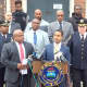 Mount Vernon Mayor Richard Thomas with members of the police force at the Tuesday press conference.
