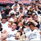 Yale's men's lacrosse team celebrates the first national championship in school history on Monday in Foxborough, Mass.