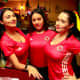 Waitresses at Noches de Colombia get in the World Cup spirit.