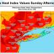 Heat index values for Sunday, July 1.