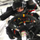 Anthony Alfredo strapped into his race car before a NASCAR race.