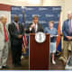 County Executive George Latimer at the podium during Monday's Westchester County Airport news conference..