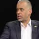 Libertarian Party candidate Larry Sharpe of Queens is interviewed by Brian Harrod of Yonkers.