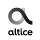 The logo for Altice USA based in Delaware and Altice Europe, a Dutch company.
