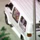 The white van with numerous stickers on both sides and on the back seized in connection with the arrest in Plantation, Florida in Broward County, near Fort Lauderdale.