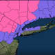 A look where Winter Storm Warnings (in pink) and Winter Weather Advisories (in purple) are in effect.