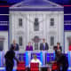 Another view of Wednesday's first presidential debate among 10 Democrats. A second debate features another 10 Democrats on Thursday, June 27.