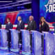 Sen. Kirsten Gillibrand of New York, far right, was among the candidates jostling for airtime Thursday during the second Democratic Party presidential debate.
