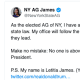 New York Attorney General Letitia James's replied to President Trump via Twitter.