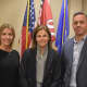 Newly-elected New Canaan Public Schools Board of Education officers, from left,   Jennifer Richardson, secretary; Katrina Parkhill, chair; Brendan Hayes, vice-chair. Photo credit: Courtesy of New Canaan Public Schools