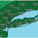 Rainfall amounts will be highest farthest south, especially on Long Island.