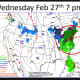 A look at the projected storm impact on Wednesday evening, Feb. 26.