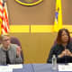 State Health Commissioner Judy Persichilli and Lt. Gov. Sheila Oliver at a coronavirus briefing at the New Jersey Regional Operations & Intelligence Center.