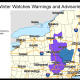 A look at counties where winter weather advisories (blue) and winter storm watches (light blue) are in effect.