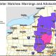 A look at areas where winter storm warnings (pink) and winter weather advisories (purple) are in effect from 2 p.m. Monday, March 23 until 4 a.m. Tuesday, March 24.