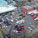 An aerial view of the dozens of emergency vehicles parked outside Jersey Shore University Medical Center in Neptune City.