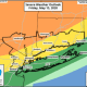 The highest threat for severe storms is areas farther north and inland (shown here in orange).