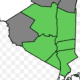 Counties that make up the Hudson Valley Region are shown in green. Sullivan, which is partially considered as being in the Hudson Valley, is it gray. It is included in the New York State COVID group for Mid-Hudson Valley.
