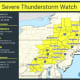 A look at areas (in yellow) where a Severe Thunderstorm Watch is in effect.
