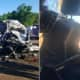 Photos of Monday's wreckage from a collision between a state trooper's car and dump truck posted on Twitter by the State Troopers Fraternal Association of NJ. The driver's side of the cruiser was crushed with the seat pressed into the dashboard.