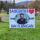 One of many yard signs posted in Saugerties in support of Flanigan's run on The Voice.