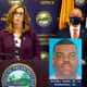 Acting Camden County Prosecutor Jill S. Mayer, center, and Somerdale Police Chief James Walsh, left, during a news conference on Friday's arrest in a 21-year-old rape, robbery and attempted murder case. A photo of the 47-year-old suspect is at right.