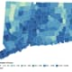 This map shows the distribution of COVID-19 cases, deaths, and tests since the beginning of the pandemic. Darker colors indicate towns with more cases.