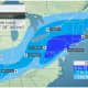 A look at projected snowfall totals on Thursday, Feb. 18 from AccuWeather.
