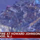 An aerial view of the overnight fire damage at the Howard Johnson Express Inn on North Black Horse Pike in Gloucester Township. (Courtesy ABC-TV News Chopper 6)