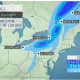 A look at the parts of the Northeast expected to see accumulating snowfall Wednesday, March 31 into Thursday, April 1, with 6 to 12 inches possible in the areas of New York State shown in dark blue.