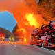 A car-carrying trailer went up in flames on Route 80 westbound Thursday morning, prompting a quick and efficient response from surrounding fire crews.