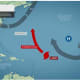 Now churning in the Atlantic, Cat 3 Hurricane Larry (red marker) is expected to move toward Bermuda on Thursday, Sept. 9.