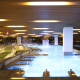 The hydrotherapy pool area is designed to serve many guests at once.