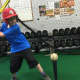 A batter practices at Breathe Baseball in downtown Haverstraw.