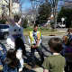 Children line up to meet the Easter Bunny