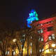 Yonkers City Hall Clocktower lit in South Africa's colors in honor of Nelson Mandela.