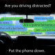 "Maeve McGowan's winning poster in the Rye YMCA's ""Heads Up!"" distracted driving poster contest."