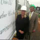 Convent of the Sacred Heart Head of School Pamela Juan Hayes and Assistant Head of School Michael Baber at the groundbreaking ceremony for a new athletic center. The school renamed its main building Salisbury Hall for the late Nancy Salisbury.