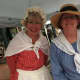 New Canaan Historical Society board members and volunteers Susan Serven and Robin Wolyner helped out at the society's booth at the New Canaan Village Fair and Sidewalk Sale on Saturday.