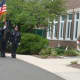 The New Canaan Police Honor Guard marches at the 9/11 ceremony Thursday morning.