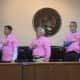 The Tuckahoe Board of Trustees sported their own pink shirts, provided by the DPW.