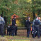 New Rochelle and Westchester County police at Nature Study Woods near Webster Avenue Thursday.
