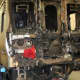 The NTSB released this photo of the train involved in the accident at its maintenance facility to be further examined.