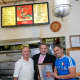 Gino's Pizzeria owner, Antonio Porco receives Best Pizza Award in Yonkers, by Yonkers Mayor Mike Spano, along with his son, Giuseppe Porco.