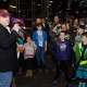 """Pete Kelly addressing attendees at the """"Quinn for the Win"""" fundraiser at Grand Prix New York."""