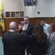 New Tuckahoe Trustee Antonio Leo being sworn into his new office.
