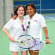Maya Todrin, left, with her tennis partner Kyra Fitzpatrick. Todrin is participating in the Special Olympic Summer Games this weekend.